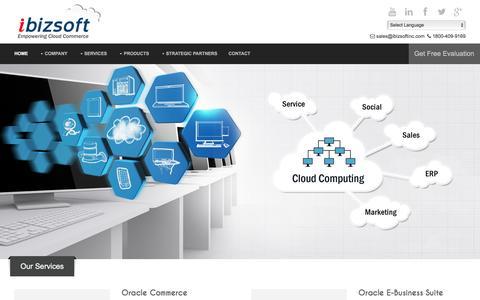 Screenshot of Home Page ibizsoftinc.com - Cloud Commerce | Sales Cloud | Service Cloud | Social Cloud | Marketing Cloud | hybris | Demandware| Magento - captured Jan. 9, 2016