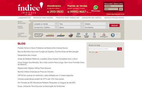 Screenshot of Blog indiceimoveis.com.br - Imobiliária, Imóveis, Ribeirão Preto, Locação, Aluguel, Comprar, Casas - captured Feb. 29, 2016