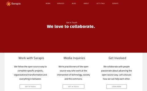 Screenshot of Contact Page sarapis.org - Let's Talk – Sarapis - captured Jan. 17, 2020