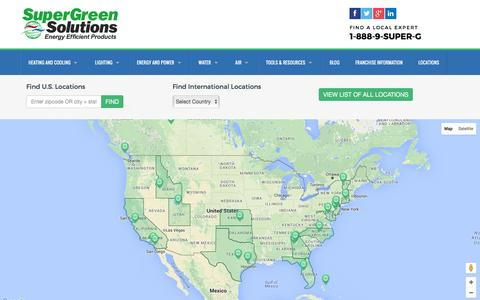 Screenshot of Locations Page supergreensolutions.com - Locations  |  SuperGreen Solutions - captured Jan. 12, 2016