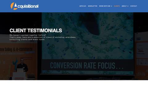 Screenshot of Testimonials Page acquisitional.com - Testimonials : Ecommerce Success : Ian Rhodes - captured July 23, 2019