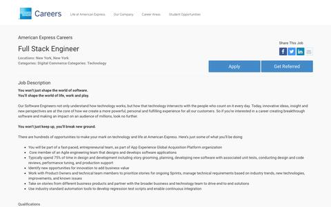 Screenshot of Jobs Page americanexpress.com - Apply For American Express Full Stack Engineer job - Digital Commerce, Technology - New York, New York - captured Dec. 12, 2016