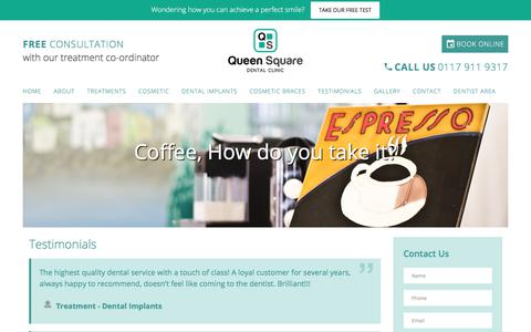 Screenshot of Testimonials Page queensquareclinic.com - Testimonials and Reviews For Dentist Bristol - captured Jan. 21, 2020
