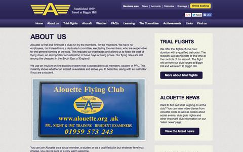 Screenshot of About Page alouette.org.uk - Alouette Flying Club - About us - captured Oct. 4, 2014