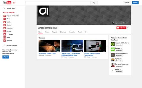 Screenshot of YouTube Page youtube.com - Aniden Interactive  - YouTube - captured Oct. 23, 2014