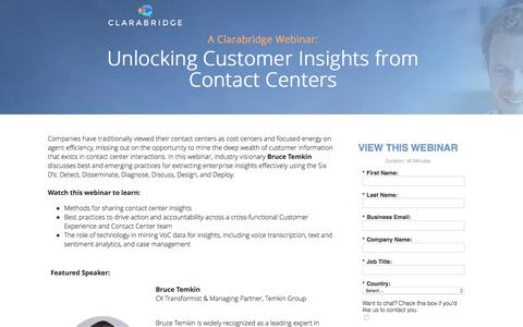 Screenshot of Landing Page clarabridge.com - Unlocking Customer Insights from Contact Centers - captured June 9, 2017
