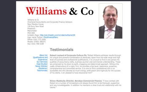 Screenshot of Testimonials Page corporatefinance.org.uk - Testimonials - captured Oct. 26, 2014