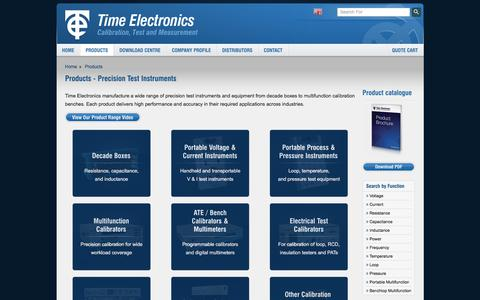 Screenshot of Products Page timeelectronics.com - Precision Test Instruments, Calibration Equipment - Time Electronics - captured Oct. 27, 2017
