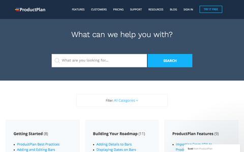Screenshot of Support Page productplan.com - Svati says… - captured Sept. 6, 2017