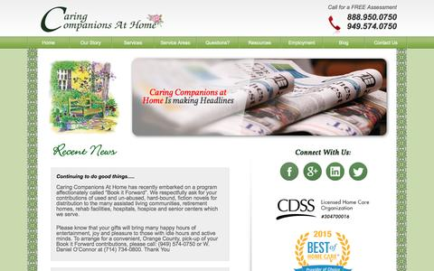 Screenshot of Press Page caringcompanionsathome.com - Recent News | Senior & Elderly In-Home Care News | Elder Caregiver News | Caring Companions at Home - captured Oct. 24, 2016