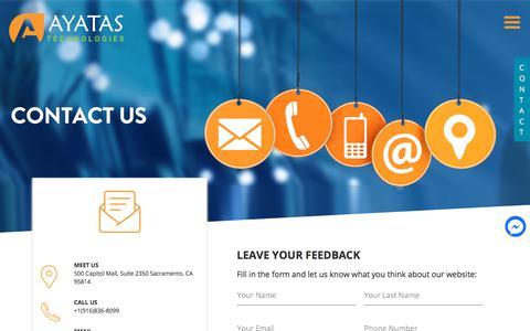 Screenshot of Contact Page ayatas.com - Contact us | Call us (916)836-8099 | Contact Ayatas Technologies - captured Aug. 7, 2018