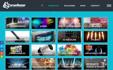 Screenshot of Products Page newtoneentertainment.com.au - Audio, special effects equipment event hire | Newtone Entertainment - captured Sept. 20, 2018