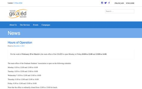 Screenshot of Hours Page gsaed.ca - Hours of Operation | Graduate Students' Association des étudiant.e.s diplômé.e.s - captured May 14, 2016