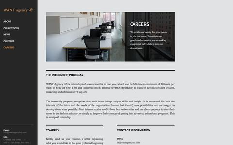 Screenshot of Jobs Page wantagencyinc.com - Careers - Want Agency - captured Oct. 26, 2014