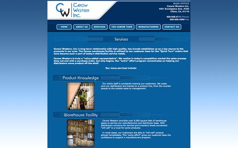 Screenshot of Services Page canowinc.com - Canow Western Inc. | Manufacturers Rep Agency | Warehouse Facility - captured Nov. 1, 2014