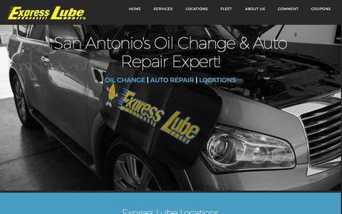Screenshot of Home Page expresslube.com - San Antonio Oil Change - captured Sept. 17, 2015
