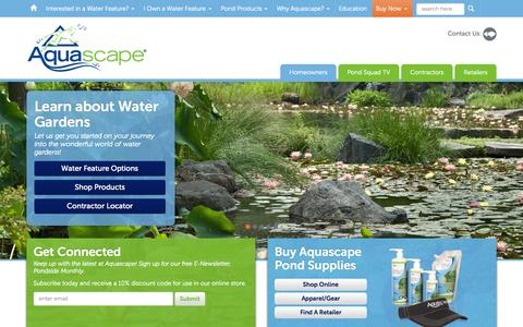 Screenshot of Home Page aquascapeinc.com - Water Gardens, Water Features, Pond Supplies | Aquascape - captured Nov. 20, 2015