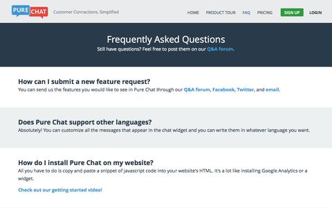 Screenshot of FAQ Page purechat.com - Live Chat Online - FAQs | Pure Chat - captured Oct. 29, 2014