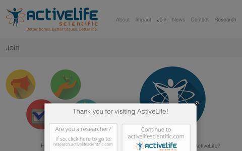 Screenshot of Signup Page activelifescientific.com - ActiveLife Scientific  » Join - captured Nov. 2, 2014