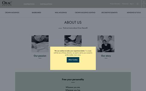 Screenshot of About Page oracdecor.com - About Us I Orac Decor® - captured Nov. 8, 2018