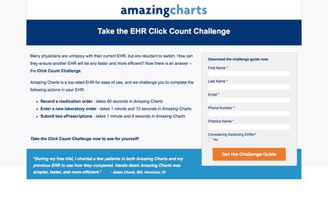 Screenshot of Landing Page amazingcharts.com - Take the EHR Click Count Challenge - captured May 25, 2016