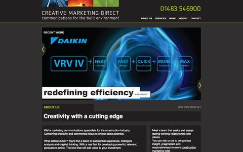 Screenshot of Home Page creativemarketingdirect.co.uk - CREATIVE MARKETING DIRECT - Communications for the Built Environment - captured Oct. 3, 2014