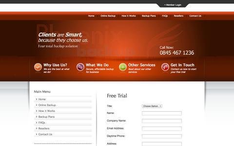 Screenshot of Trial Page phoenixbackup.co.uk - Online Backup by Phoenix Backup - Online Backup by Phoenix Backup - captured Sept. 29, 2014
