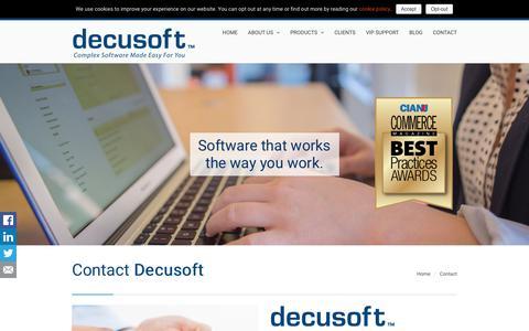 Screenshot of Contact Page decusoft.com - Contact – Decusoft - captured Aug. 6, 2018