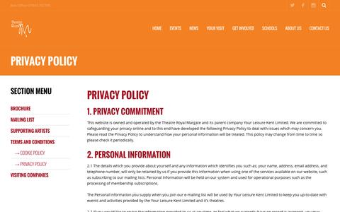 Screenshot of Privacy Page theatreroyalmargate.com - Privacy Policy ‹ Theatre Royal Margate - captured Oct. 9, 2014