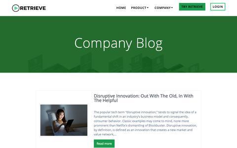 Screenshot of Blog retrieve.com - Company Blog | Retrieve - captured March 21, 2019