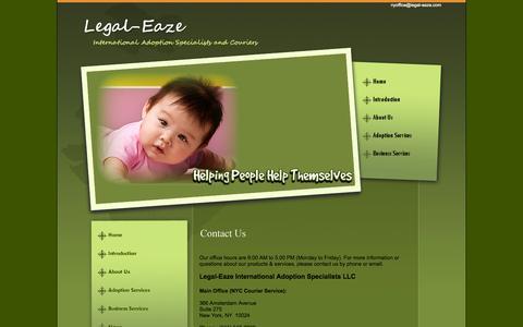 Screenshot of Contact Page legal-eaze.com - Contact Us - captured Oct. 2, 2014