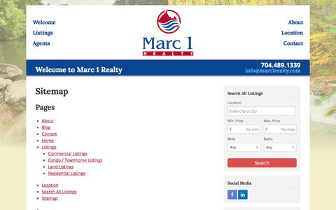 Screenshot of Site Map Page marc1realty.com - Sitemap - Marc 1 Realty - captured Sept. 20, 2018