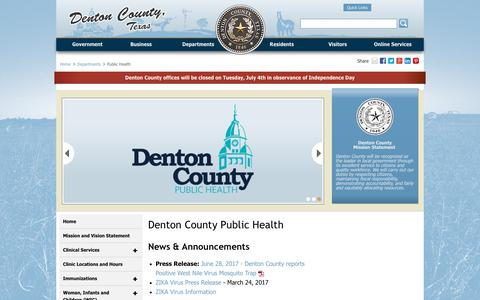 Screenshot of Locations Page dentoncounty.com - Denton County Public Health - Denton County, Texas - captured July 5, 2017