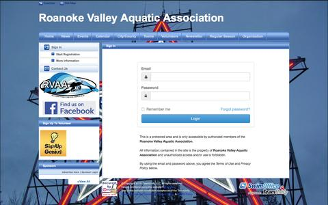 Screenshot of Login Page teamunify.com - Roanoke Valley Aquatic Association : Sign In - captured May 18, 2016