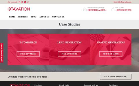 Screenshot of Case Studies Page otavation.com - » Case studies - captured Jan. 11, 2016