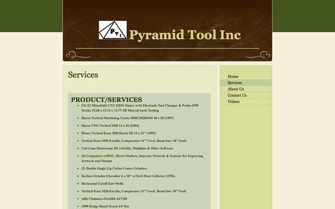 Screenshot of Services Page pyramidtool.com - Pyramid Tool Inc - Services - captured Oct. 3, 2014