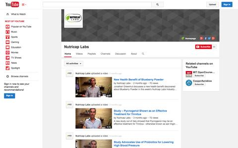 Screenshot of YouTube Page youtube.com - Nutricap Labs  - YouTube - captured Nov. 2, 2014