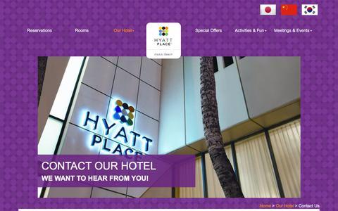 Screenshot of Contact Page hyattplacewaikikibeach.com - Contact Hyatt Place Waikiki Beach - captured July 23, 2018