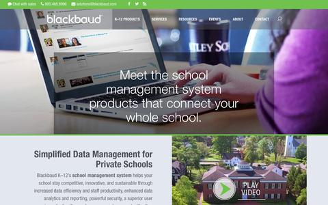 Screenshot of Products Page blackbaud.com - School Management System Software | Blackbaud K-12 - captured Oct. 18, 2018