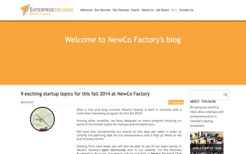 Screenshot of Blog newcofactory.fi - NewCo Factory - Let us know your thoughs - captured Sept. 25, 2014