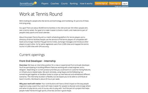 Screenshot of Jobs Page tennisround.com - Careers | Jobs at Tennis Round | Work With Us - captured Jan. 30, 2016