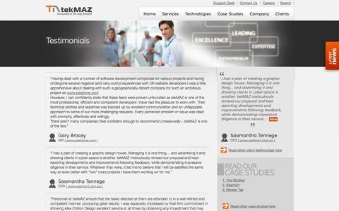 Screenshot of Testimonials Page tekmaz.com - Testimonials   Website Development   Software Development   Outsourcing   Staff Augmentation   Mobile Apps   E commerce Solutions - captured Oct. 1, 2014