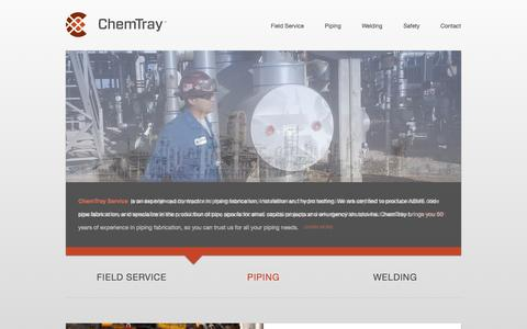 Screenshot of Home Page chemtray.com - Refinery Maintenance | Petrochemical Maintenance | Pipe Fabrication | Welding Services - captured Oct. 2, 2014