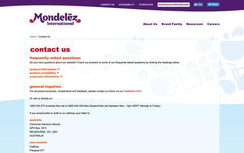 Screenshot of Contact Page mondelezinternational.com - Contact Us   Australia and New Zealand   Mondelēz International, Inc. - captured Oct. 25, 2018