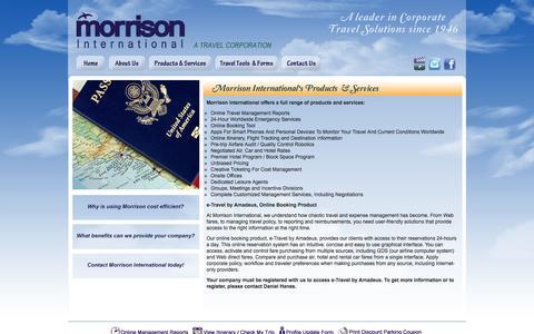 Screenshot of Services Page morrisontravel.com - Morrison International - A Travel Corporation - captured Oct. 7, 2014