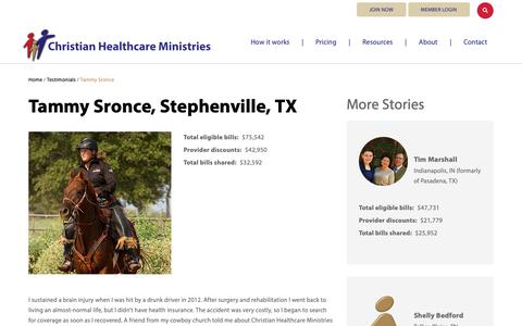 Screenshot of Testimonials Page chministries.org - Stephenville, TX              | Christian Healthcare Ministries - captured May 16, 2019