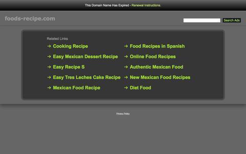 Screenshot of Home Page foods-recipe.com - Foods-Recipe.com - captured Oct. 29, 2017