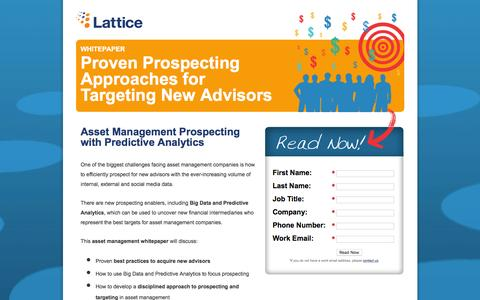 Screenshot of Landing Page lattice-engines.com - Proven Prospecting Approaches For Targeting New Advisors - captured Dec. 17, 2015