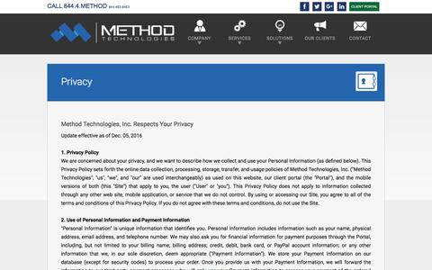 Screenshot of Privacy Page mtinc.net - Method Technologies | Privacy - captured Aug. 19, 2017
