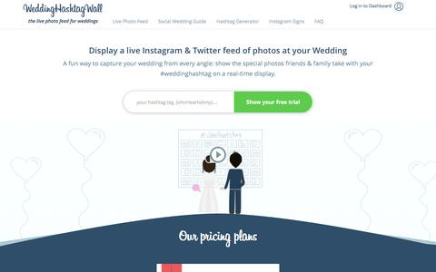 Screenshot of Home Page weddinghashtagwall.com - Wedding Hashtag Wall - Instagram Show for your Wedding - captured March 8, 2016